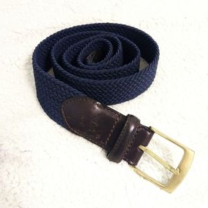 Dockers Navy Leather and Stretchy Knit Belt